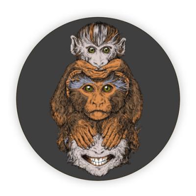 Костер (подставка под кружку) Три обезьяны символ года