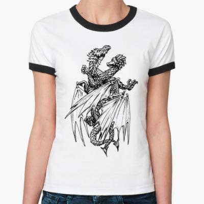 Женская футболка Ringer-T Два дракона