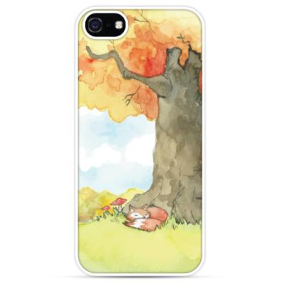 Чехол для iPhone Лиса в осеннем лесу акварель