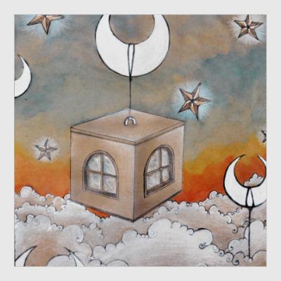 Постер Дом над небом, звезды, месяц, облака