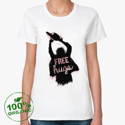 Женская футболка из органик-хлопка Кожаное лицо обнимашки