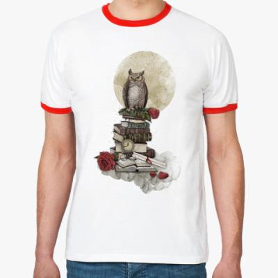Футболка Ringer-T Мудрая сова и книги