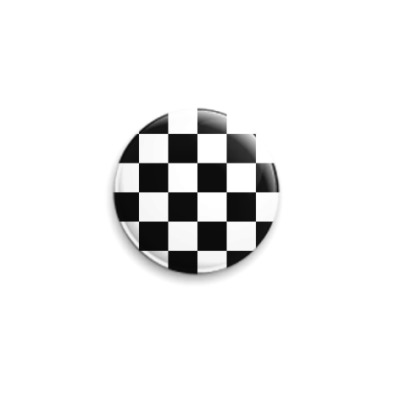 Значок 25мм Черно-белая клетка