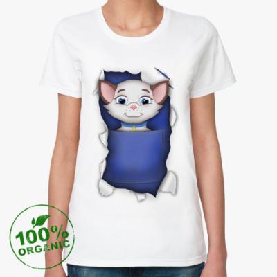 Женская футболка из органик-хлопка Кошечка