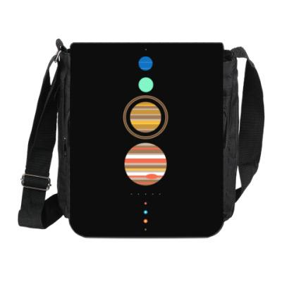 Сумка на плечо (мини-планшет) Солнечная система минимализм