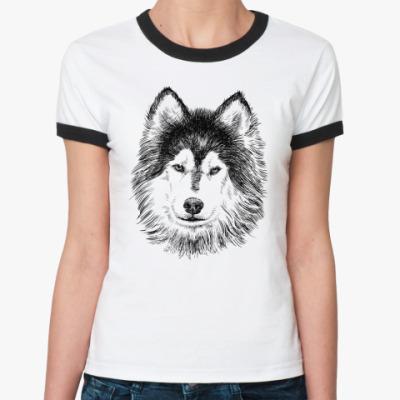 Женская футболка Ringer-T  Собака хаски карандаш