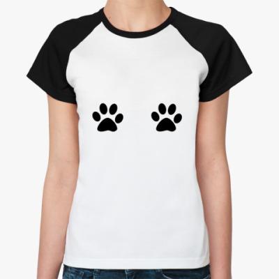 Женская футболка реглан  'Лапки'