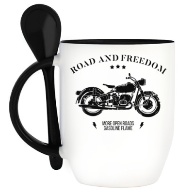 Кружка с ложкой Король дорог (мотоцикл)