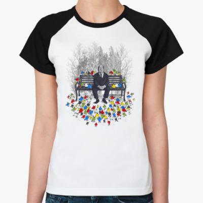 Женская футболка реглан Альфред Хичкок - птицы