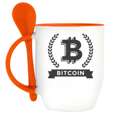 Кружка с ложкой Bitcoin - Биткоин