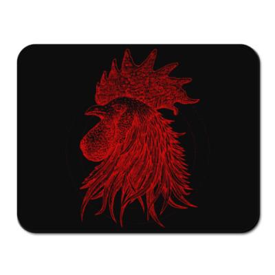 Коврик для мыши Красный петух символ Года