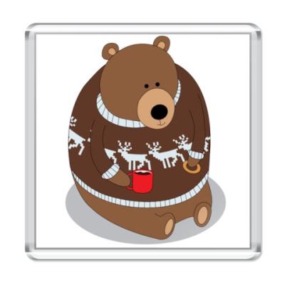 Магнит Медведь с кружкой