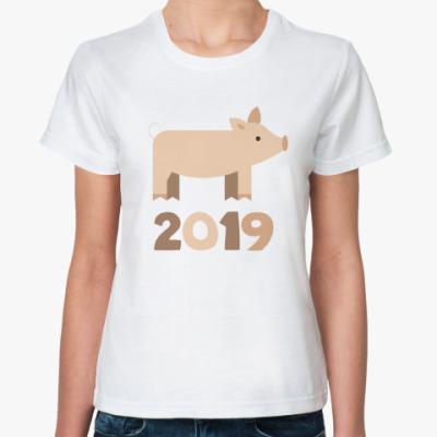Классическая футболка Год 2019 Свиньи