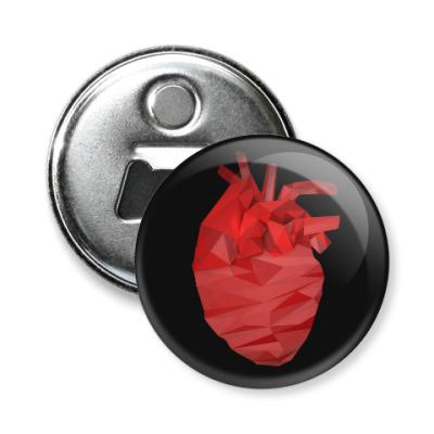 Магнит-открывашка Сердце 3D