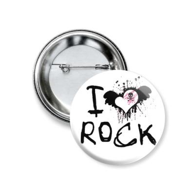 Значок 37мм I Love Rock