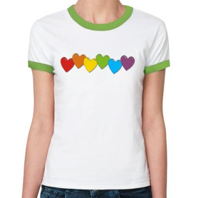 Женская футболка Ringer-T Сердечки