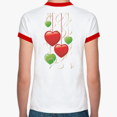 Женская футболка Ringer-T  ''Sakura & Hearts''