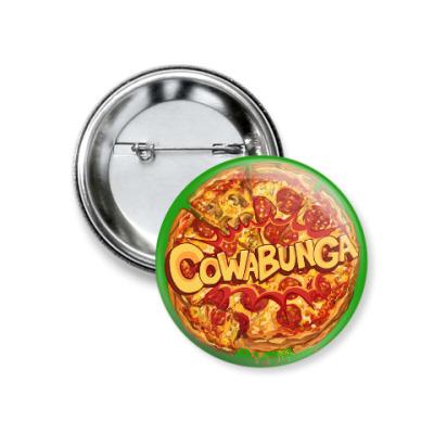 Значок 37мм Pizza Cowabunga! Пицца Микеланджело