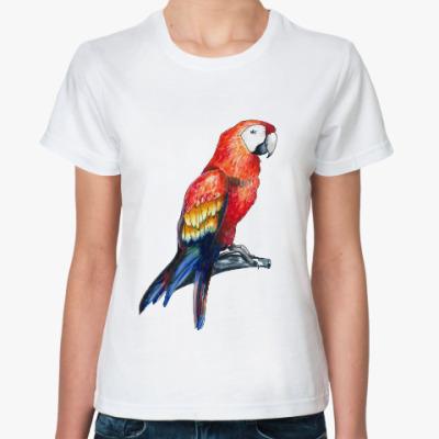 Классическая футболка тропический попугай