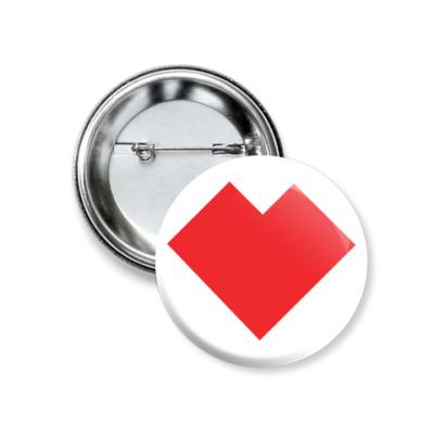 Значок 37мм Сердце танграм