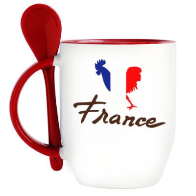 Кружка с ложкой Франция - Петух