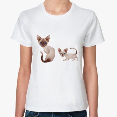 Классическая футболка Кошка и котёнок