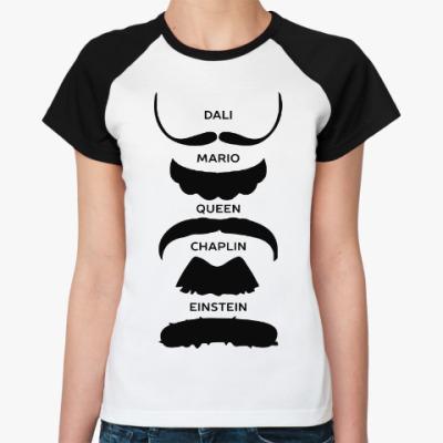 Женская футболка реглан Усы Знаменитостей