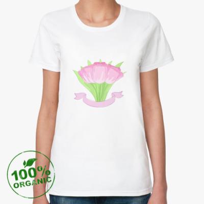 Женская футболка из органик-хлопка Тюльпаны