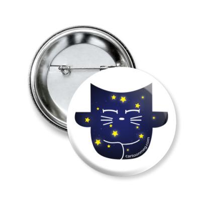 Значок 50мм Медитирующий кот