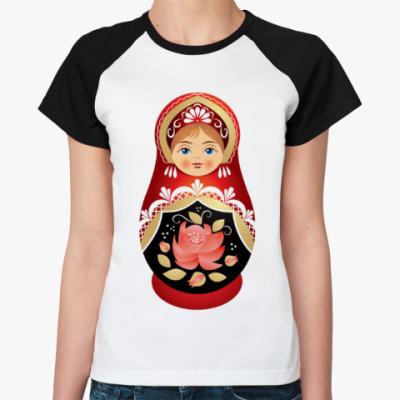 Женская футболка реглан Матрешка