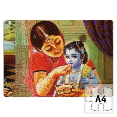 Пазл Яшода кормит Кришну