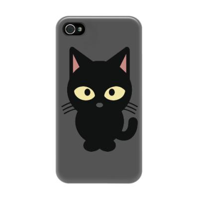 Чехол для iPhone 4/4s Черный Котик