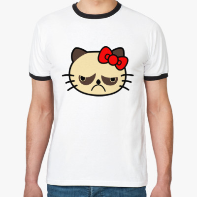 Футболка Ringer-T Grumpy Kitty