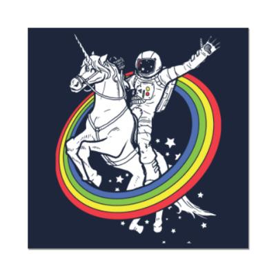 Наклейка (стикер) Космонавт на единороге