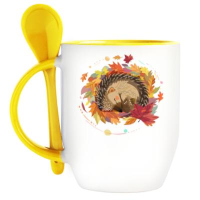 Кружка с ложкой Ежик в осенних листьях