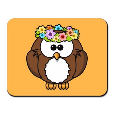 Коврик для мыши Сова с цветами