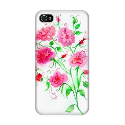 Чехол для iPhone 4/4s Цветы, акварель