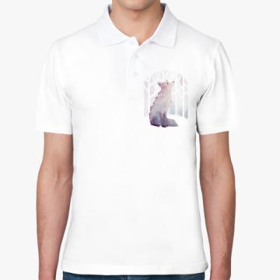 Рубашка поло Зимний Лис в снегу Winter fox