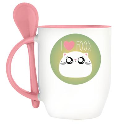 Кружка с ложкой Я люблю еду I love food