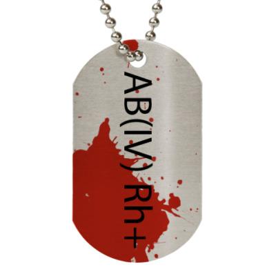 Жетон dog-tag Принт с группой крови