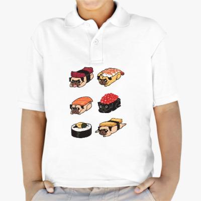 Детская рубашка поло Суши мопс