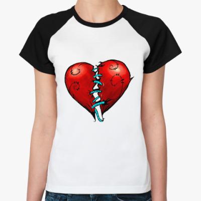 Женская футболка реглан сердце (heart)