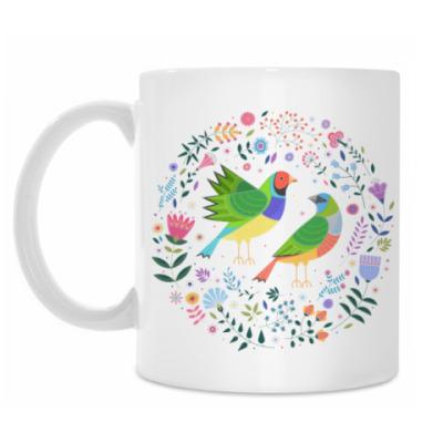 Кружка Разноцветные птички среди цветов