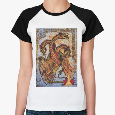 Женская футболка реглан Дракон, фреска