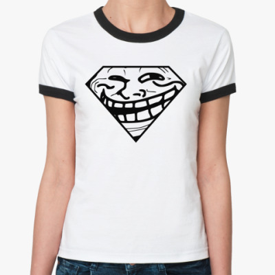 Женская футболка Ringer-T Trollface & Superman