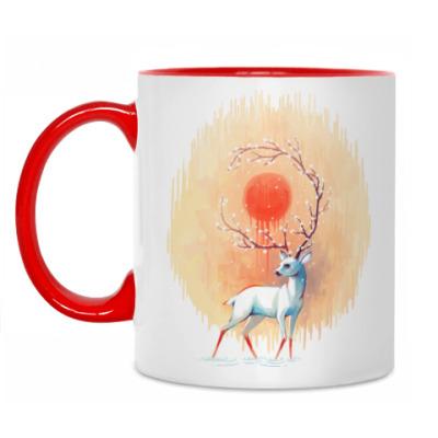 Кружка Дух весны белый олень