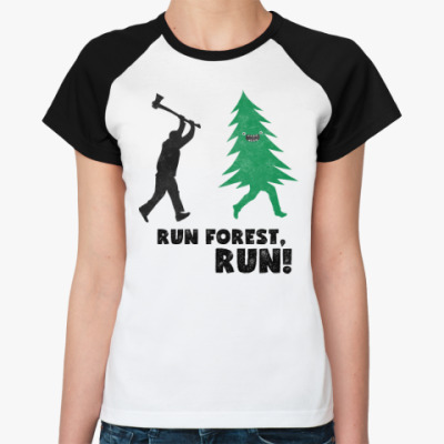 Женская футболка реглан Run forest run! New Year