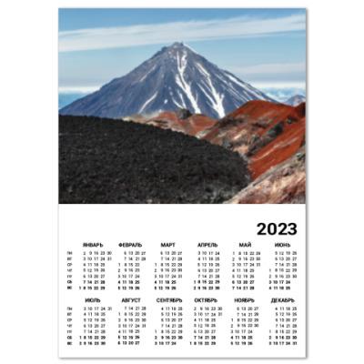Календарь Вулканы, летний пейзаж полуострова Камчатка