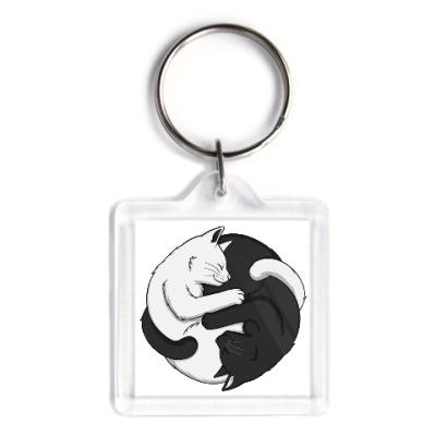 Брелок Черный и белый кот инь-ян
