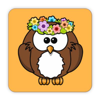 Костер (подставка под кружку) Сова с цветами